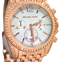 Michael Kors MK5836 Pressley White Chrono Glitz Rose Gold Steel Women Watch NEW