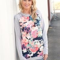 Floral Printed Spot Round Neck T-Shirt