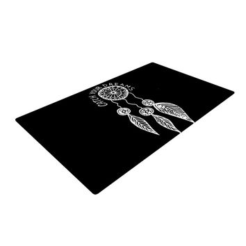 """Vasare Nar """"Catch Your Dreams Black"""" White Typography Woven Area Rug"""