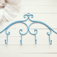 Metal Wall Hanger / Wall Hooks / Jewelry Rack / Jewelry Hanger / Towel Rack / Coat Hook / Metal Wall Decor / Blue / Customize Colors