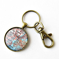 New York City Map Keychain / NYC Map Keychain / Gifts Under 20 / Christmas Gift for Him / Gift for Brother / Gift for Dad / Stocking Stuffer