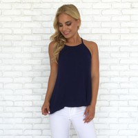 Light & Simple Ribbed Tank Top in Navy Blue
