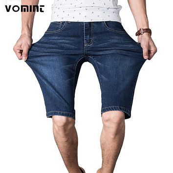 New Men Short jeans Polo Casual Men Thin Jean Blue Color Shorts Cotton Straight Ripped Elasticity