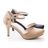 Calvin4 By Blossom Comfort, Almond Toe D'orsay Ankle Cuff Extra Insole Comfort Pumps