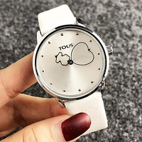 Tous Fashion New Dial Letter Bear Love Heart Personality Watch Wristwatch Women