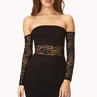 FOREVER 21 Lovely Lace Dress Black Large