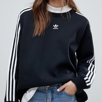 adidas originals adicolor three stripe sweatshirt in black