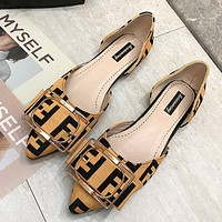 Fendi shallow mouth letter ladies square low heel shoes Yellow