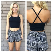 Black Basic Cross Back Crop Top