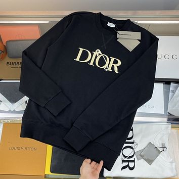 [Dior] 2021 new embroidered letter pin couple round neck sweater