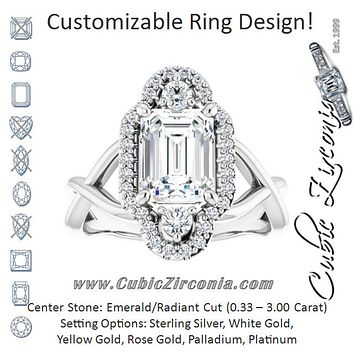 Cubic Zirconia Engagement Ring- The Josemaria (Customizable Vertical 3-stone Radiant Cut Design Enhanced with Multi-Halo Accents and Twisted Band)