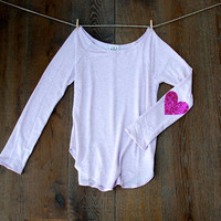 NEW Sequin Heart Elbow Patch Slouchy Pullover in Heather Lilac -  Women's Long Sleeve French Terry Tee Now available in XL