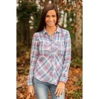 No Place Like Home Plaid Blouse-Blush