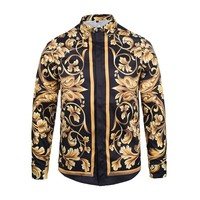 New Autumn Fashion Brand Men Colthes Slim Fit Men Long Sleeve Shirt Medusa gold chain print Shirts Men Casual Business Shirts