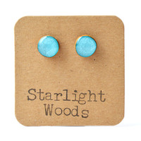 Blue Topaz metallic studs post earrings wood earrings minimalist jewelry eco fashion eco friendly unique gift for her