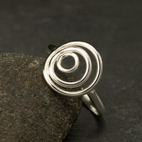 Sterling Silver Ring- Silver Circle Ring- Circle Trio Ring - Modern Silver Ring- Handmade Silver Jewelry- size 6, 7, 8