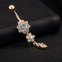 High Quality 18K Gold Plated Dangle Flower AAA Crystal CZ Navel Belly Button Rings Sexy Body Piercing Navel Body Jewelry