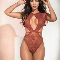 Sexy Lingerie Sheer Lace Ruffles Teddy