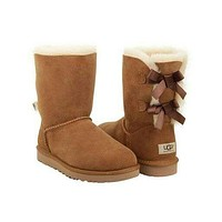 Tagre UGG Fashion Winter Women Cute Bowknot Flat Warm Snow Ankle Boots