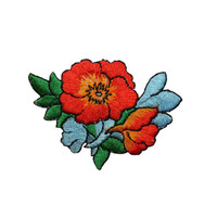 ID #6406 Orange Blue Flower Blossoms Plant Iron On Embroidered Patch Applique