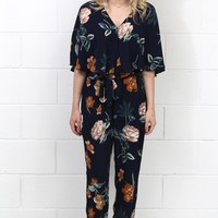 Floral Print Surplice Flutter Sleeve Jumpsuit {Navy Mix}