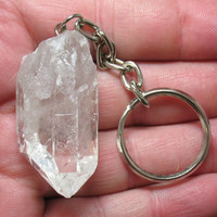 Natural Quartz Crystal Point Keychain - Item 58555