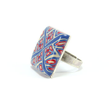 Sailor Square Ring - Square Ring - Blue Red White Ring - Adjustable Ring - Silver Plated Rings - Polymer Clay Handmade Jewelry