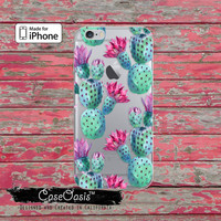 Cactus Pattern Green Cacti Watercolor Tumblr Clear Case iPhone 6 Plus iPhone 6s iPhone 6s Plus iPhone 5 iPhone 5c iPhone SE iPhone 7 + Case