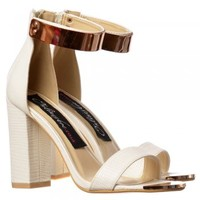 Onlineshoe Peep Toe Mid Heels - High Back Strappy Sandals Gold Cuff - Black, White, Orange, Silver - Onlineshoe from Onlineshoe UK