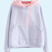 solid blue and pink hoodie