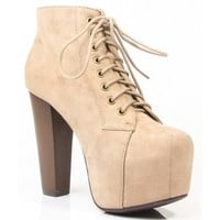 New Speed Limit 98 ROSA Lita Style Chunky High Heel Lace Up Ankle Bootie TAUPE