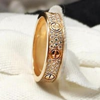 """""""Cartier"""" Trending Ladies Men Simple Three Rows Of Drill Diamond Ring Stars Couple Ring Accessories"""