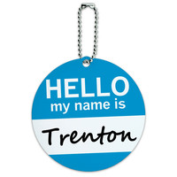 Trenton Hello My Name Is Round ID Card Luggage Tag