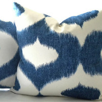Decorative pillow cover Ikat blue and white print 18 x 18