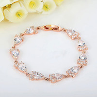 Rose Gold Plated Rhinestone Chain Bracelet