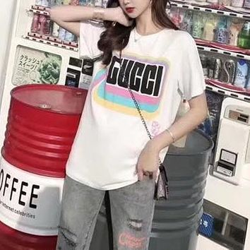 """""""Gucci"""" Women All-match Casual Multicolor Letter Print Short Sleeve Round Neck T-shirt Top Tee"""