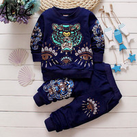 Fashion Brand Spring Children Baby Boys Girls Cartoon Tiger Clothes Suits Clothing Sets Kids T Shirt+Pants Casual Tracksuits