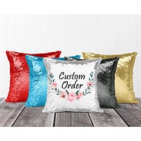 Personalized Sequin Throw Pillow | Custom Sequin Pillow | Custom Order
