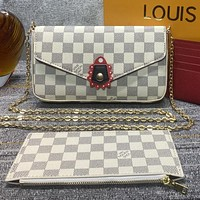 LV Louis Vuitton New Products Fully Printed Letters Three-piece Card Set Bag Shoulder Bag Messenger Bag White