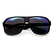 Action Sports Matte Black Square Aviator Mirrored Lens Sunglasses 9336