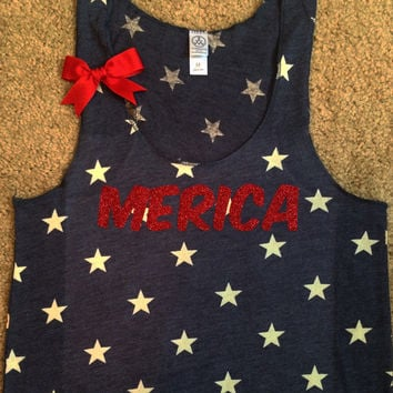 MERICA - STAR tank - Ruffles with Love - Racerback Tank - Womens Fitness - Workout Clothing - Workout Shirts with Saying