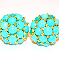 Antique Victorian Pave Persian Turquoise Earrings in Gold