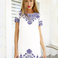 Blue and White Porcelain Print Short Sleeve A-line Mini Dress