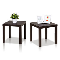 Espresso Classic Cubic End Table - Set of Two