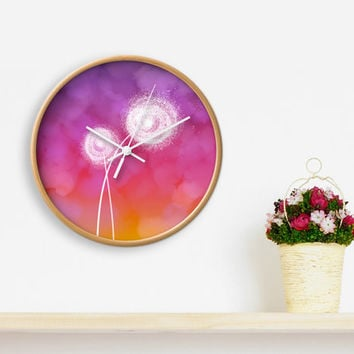 Dandelion CLOCK, Modern Wall Clock, Colorful home decor, modern office decor, Spring home decor, flower wall decor, Printed