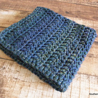 Ready To Ship Peacock Blue Green Gold Purple Baby Toddler Afghan Crib Blanket Baby Shower Gift