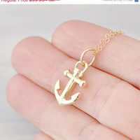 Easter Sale Anchor Necklace - 10k Yellow Gold Anchor -  Anchor Pendant - Nautical Jewelry - Anchor Necklace  - Anchor Jewelry - Gold Pendant