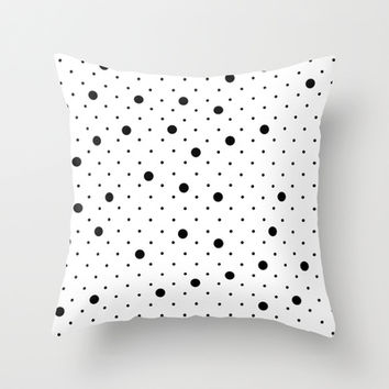 Pin Points Polka Dot Black and White Throw Pillow by Project M | Society6