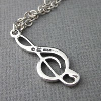 Sterling Silver .925 Large Treble Clef Charm Necklace Chain Gift Box