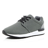 River Island MensGrey mesh thick sole sneakers